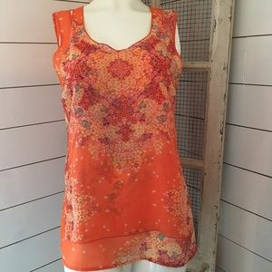 Cabi orange print 2 layer tank.